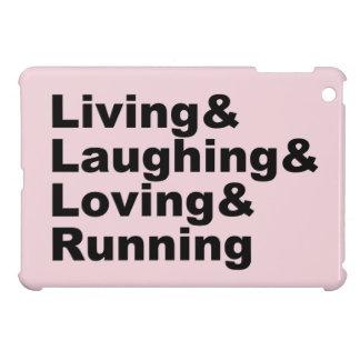 Living&Laughing&Loving&RUNNING (blk) iPad Mini Covers
