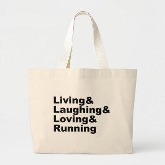 Living&Laughing&Loving&RUNNING (blk) Large Tote Bag
