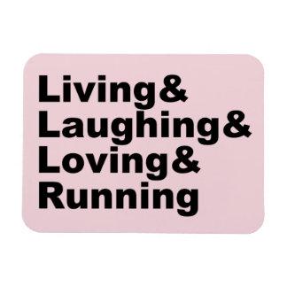 Living&Laughing&Loving&RUNNING (blk) Magnet