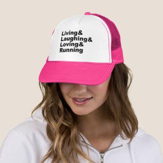 Living&Laughing&Loving&RUNNING (blk) Trucker Hat