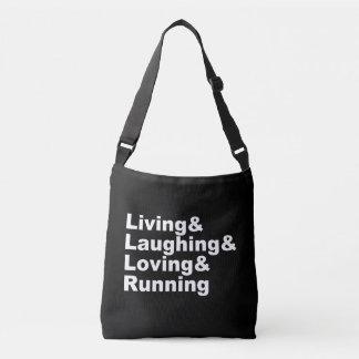 Living&Laughing&Loving&RUNNING (wht) Crossbody Bag