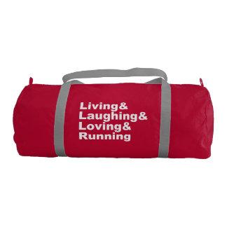 Living&Laughing&Loving&RUNNING (wht) Gym Bag