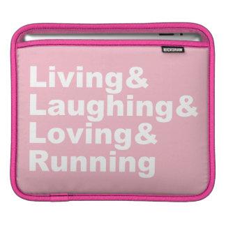 Living&Laughing&Loving&RUNNING (wht) iPad Sleeve