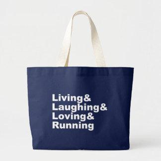 Living&Laughing&Loving&RUNNING (wht) Large Tote Bag