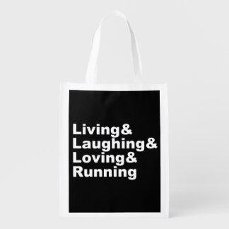 Living&Laughing&Loving&RUNNING (wht) Reusable Grocery Bag