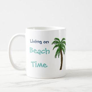 Living on Beach Time Palm Tree Custom Text Mug