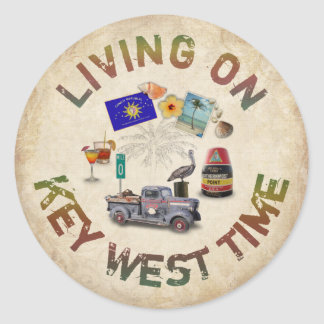 Living on Key West Time Classic Round Sticker