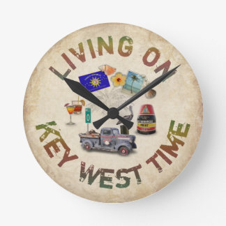 Living on Key West Time Wall Clock