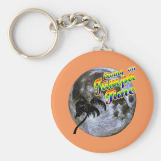 Living On Tampa Time Keychain. Basic Round Button Keychain