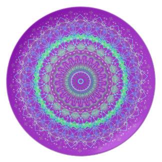 Living Purple Mandala kaleidoscope plate