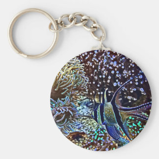 Living Reef and Fish Basic Round Button Keychain