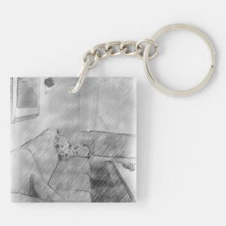 Living room square acrylic key chain