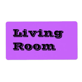 Living Room Moving Labels in Lavender Purple
