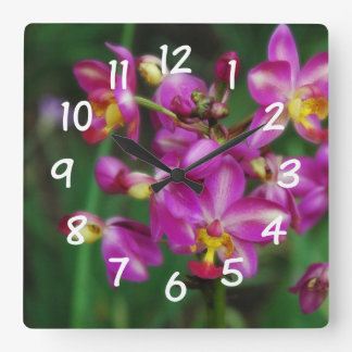 Living Room - Purple orchids Photo Wall Clock
