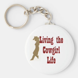 Living the Cowgirl Life Basic Round Button Keychain