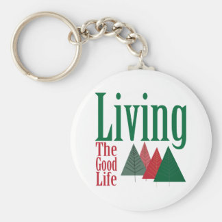 Living the Good Life Christmas Tree Design Keychain