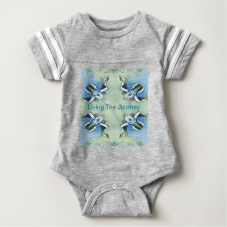 """Living the Journey"" Blue Green Positive Pattern Baby Bodysuit"