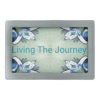 """Living the Journey"" Blue Green Positive Pattern Belt Buckle"