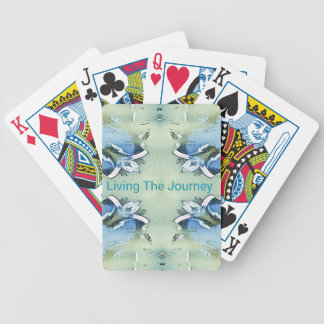 """Living the Journey"" Blue Green Positive Pattern Bicycle Playing Cards"
