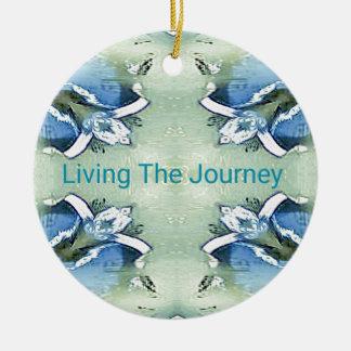 """Living the Journey"" Blue Green Positive Pattern Ceramic Ornament"