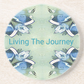 """""""Living the Journey"""" Blue Green Positive Pattern Coaster"""