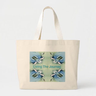 """Living the Journey"" Blue Green Positive Pattern Large Tote Bag"