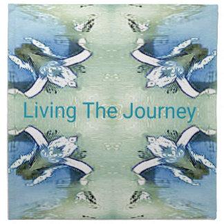 """Living the Journey"" Blue Green Positive Pattern Napkin"