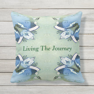 """""""Living the Journey"""" Blue Green Positive Pattern Outdoor Pillow"""