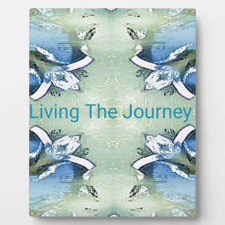"""""""Living the Journey"""" Blue Green Positive Pattern Plaque"""
