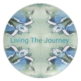"""Living the Journey"" Blue Green Positive Pattern Plate"