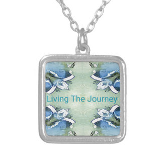 """Living the Journey"" Blue Green Positive Pattern Silver Plated Necklace"