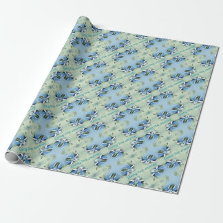 """Living the Journey"" Blue Green Positive Pattern Wrapping Paper"