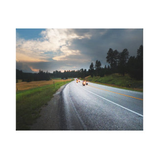 Living to ride - Motorcycles on mountain road Canvas Print