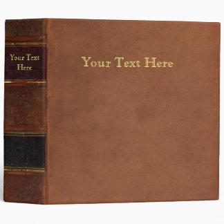 Livre antique, cuir de faux lié (rétro brun) classeur 3 anneaux