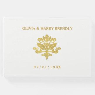 Livre d'invité de mariage avant de   blanc et d'or