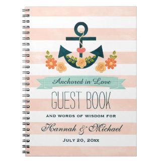 Livre d'invité nautique de mariage d'ancre de carnet