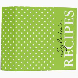 Livre vert pomme de classeur de recette de motif d