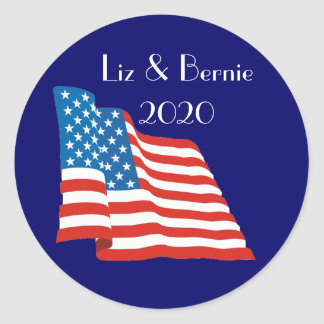 Liz and Bernie - 2020 with American Flag Classic Round Sticker