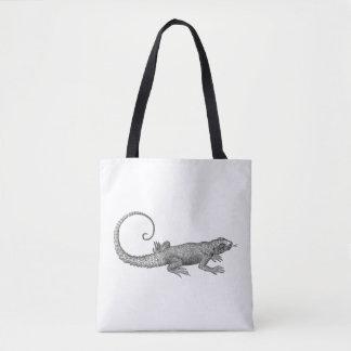 Lizard Antique Graphic Print Tote Bag