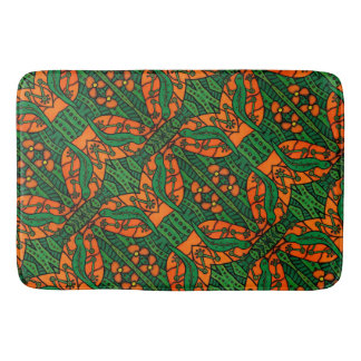 Lizard Gecko Green And Orange Pattern Bath Mat