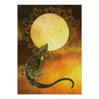 Lizard Holding the Sun Poster