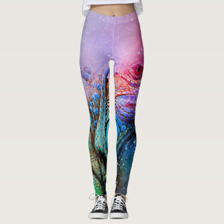 Lizard Leggings Rainbow Iguana Colorful Dragon