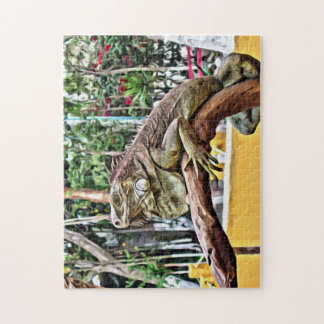 Lizard on a branch jigsaw puzzle
