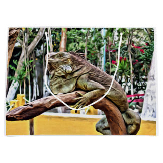 Lizard on a branch large gift bag