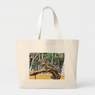 Lizard on a branch large tote bag