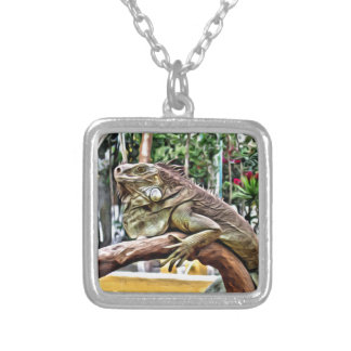 Lizard on a branch silver plated necklace