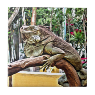 Lizard on a branch tile