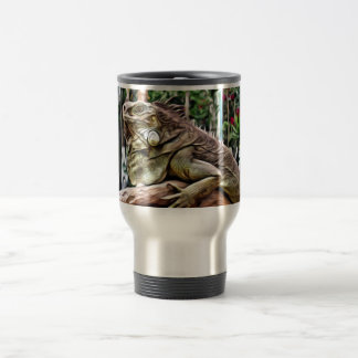Lizard on a branch travel mug
