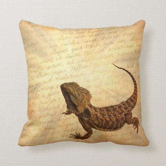 Lizard on a letter throw pillow