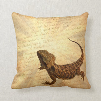 Lizard on a letter throw pillow